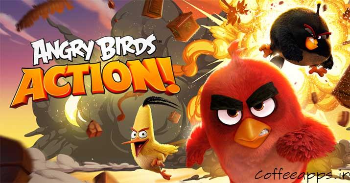 angry birds action cover - دانلود نسخه مود شده بازی جذاب Angry Birds Action برای اندروید
