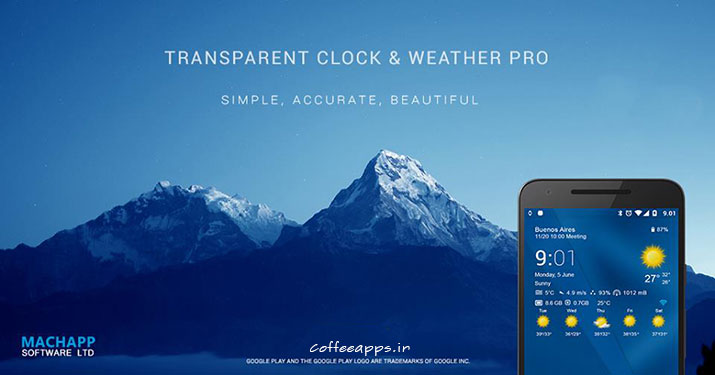 Transparent clock weather برای اندروید